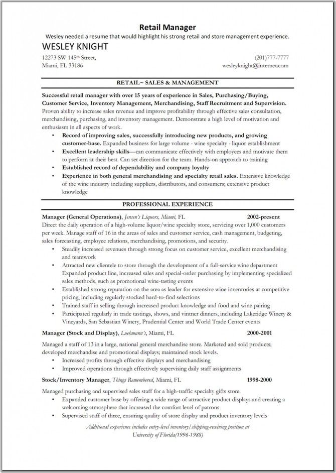 resume examples of retail management