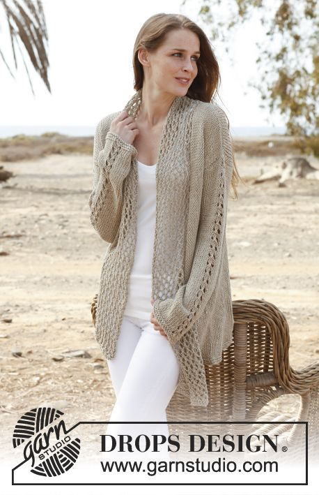 Knitted DROPS jacket in Bomull Lin or Paris. Size: S - XXXL. Free ...