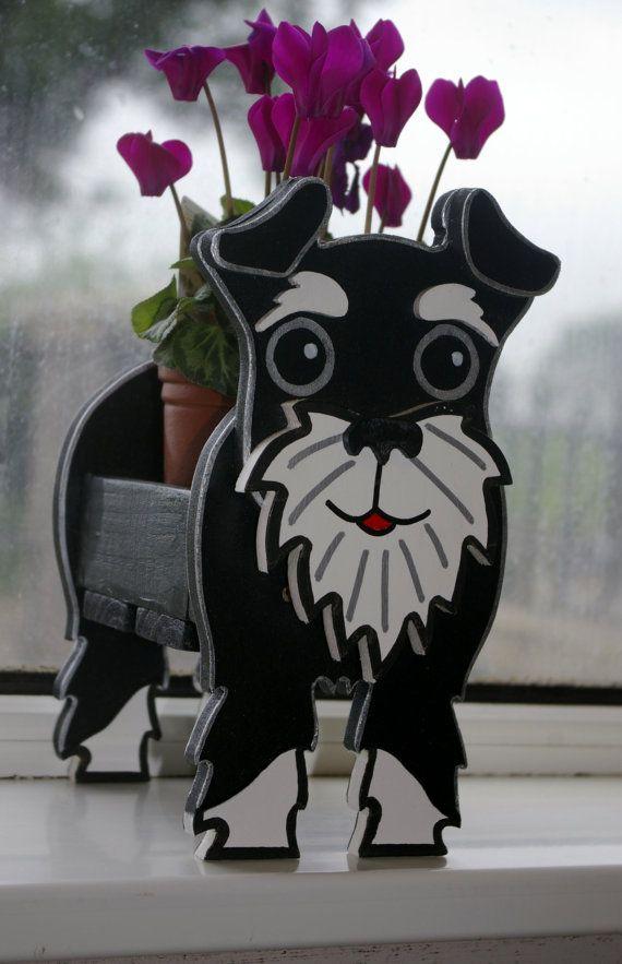 Schnauzer Plant Pot Holder Garden Ornaments Decorations Dog Dogs