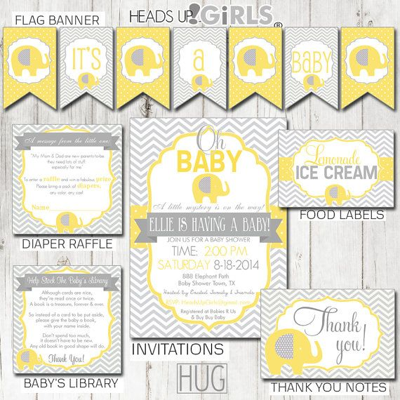Digital Printable Yellow Elephant Baby Shower Party Kit Gender Neutral - Invitations, Shower Games, and Decorations