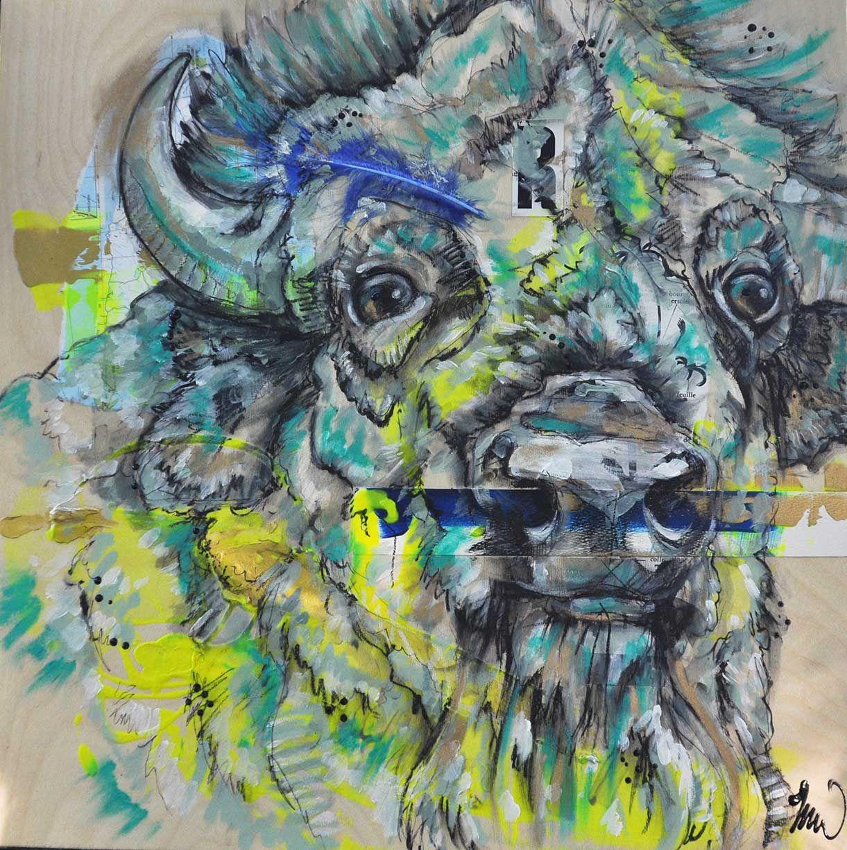 buffalo art restless mixed medias on wood panel 20 20