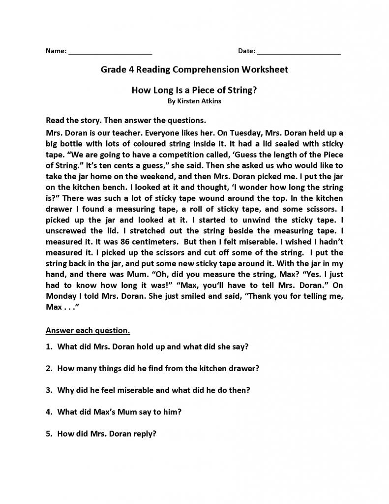4th Grade Reading Comprehension Worksheets Best Coloring Pages For Kids Reading Comprehension Worksheets Comprehension Worksheets 4th Grade Reading Worksheets [ 1024 x 791 Pixel ]