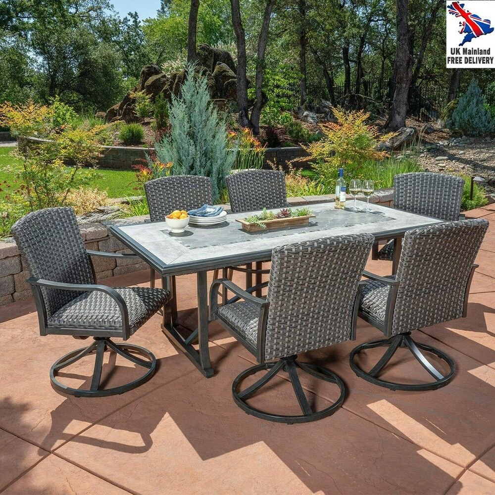 7pc Patio Dining Set Woven Metal Rocking Swivel Chairs Mosaic Table Top Cover Furniture Furnituredesign Furn Patio Patio Dining Set Dining Furniture Sets