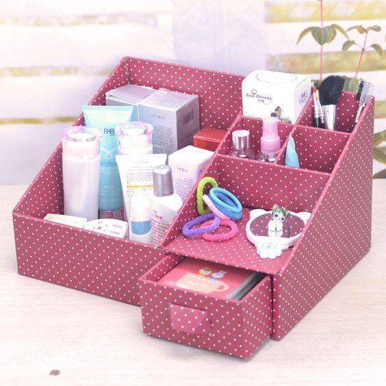 Alta calidad precioso originalidad DIY de cartón de papel Escritorio Caja de almacenamiento de gran volumen Moda multifunción organizador cosmético