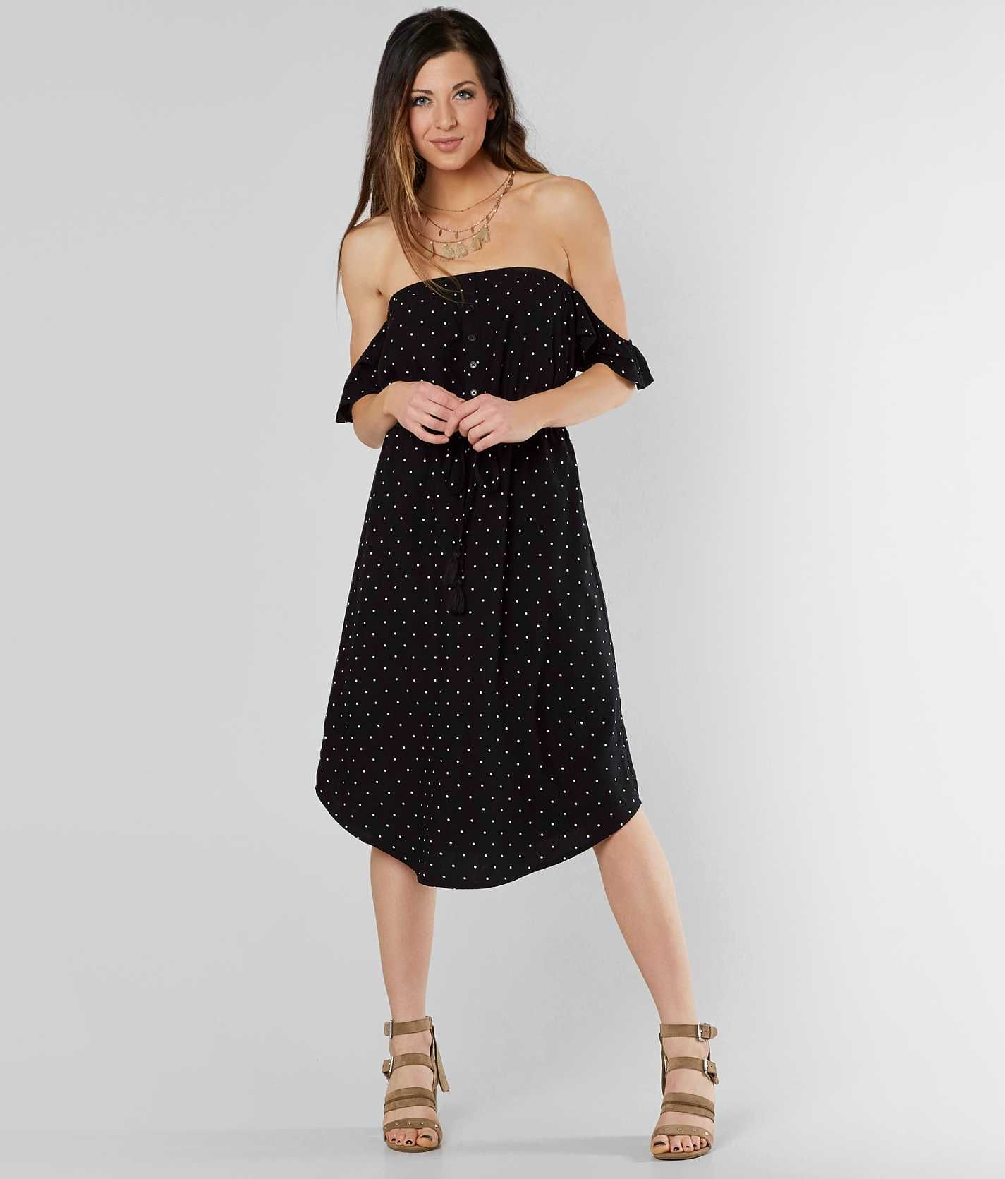 Daytrip polka dot midi dress womens dresses in black