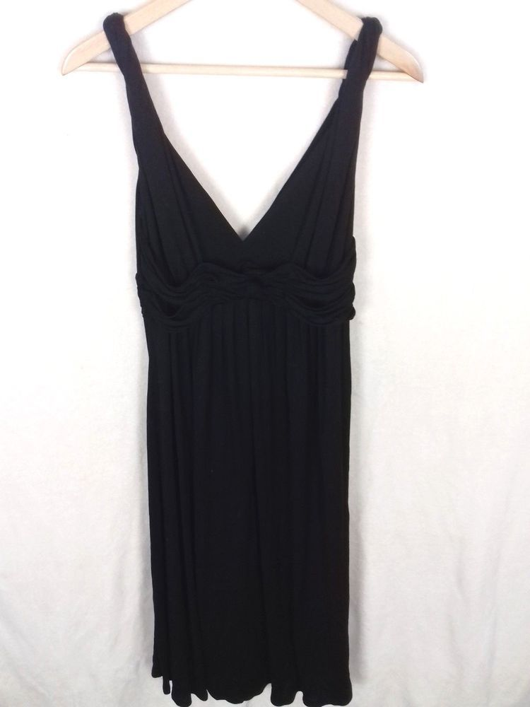 Oasis Size 10 Black Grecian Drape Ruched Waist Evening Midi Dress