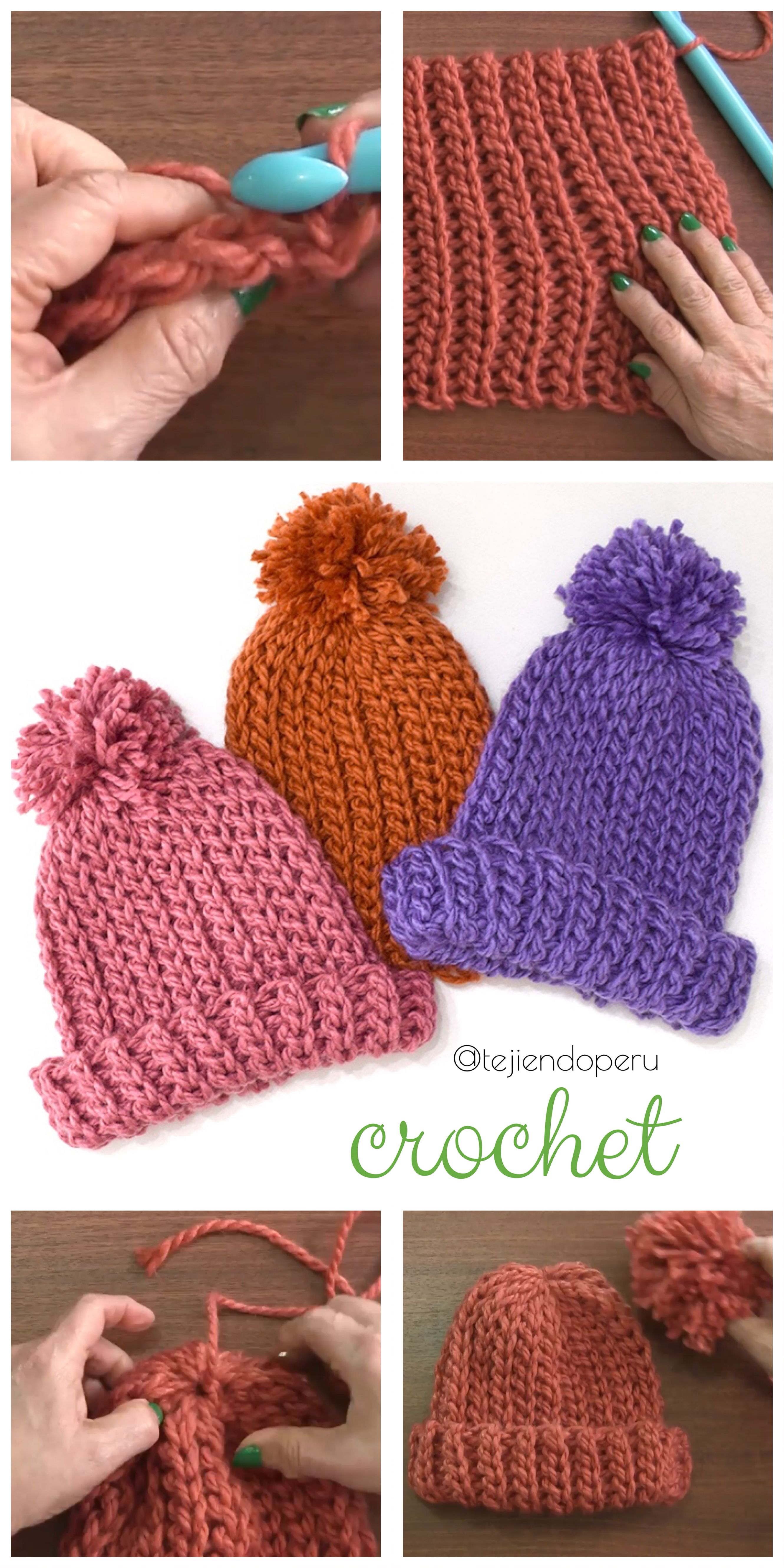 Crochet paso a paso: gorros imitación punto elástico tricot ...