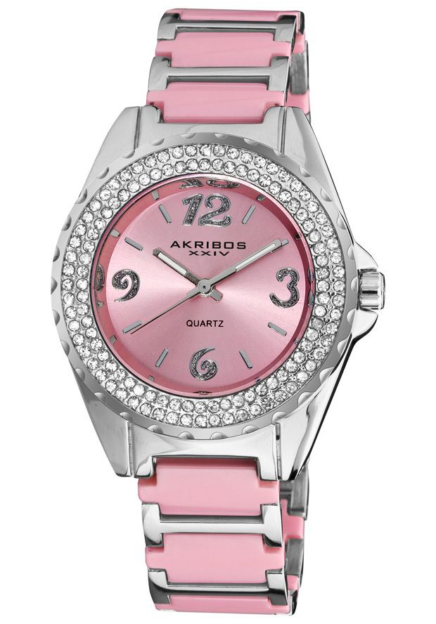 Price:$63.00 #watches Akribos XXIV AK514PK, This sparkling Akribos XXIV women's quartz watch features two rows of genuine crystals on the bezel. The glittery Arabic numerals on the sunray dial add to the sparkle. Ceramic inserts adorn the bracelet of this watch.