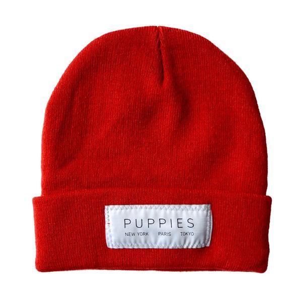 Designer Label   Red Beanie - Hat -  - Puppies Make Me Happy