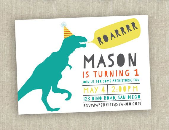 dinosaur birthday invitation first birthday by paperkitedesigns – Dinosaur Party Invitation Wording