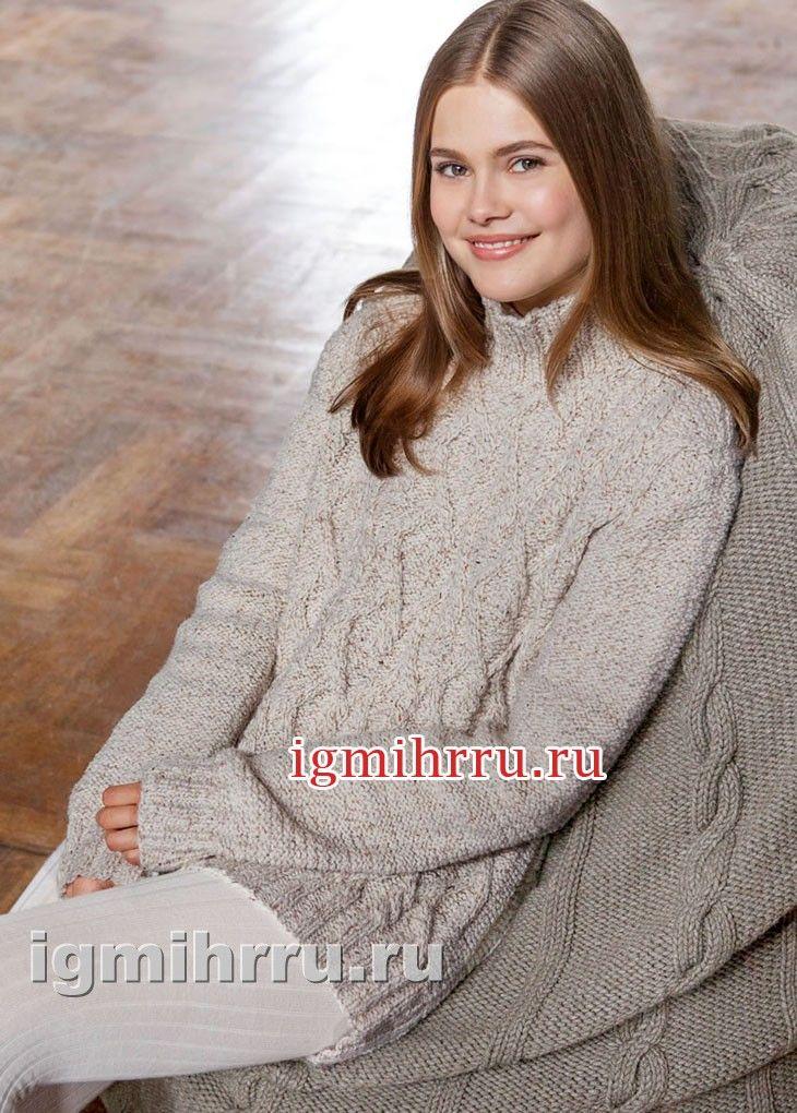 7efc547eebcce Светлый меланжевый пуловер с косами и ромбами. Вязание спицами ...