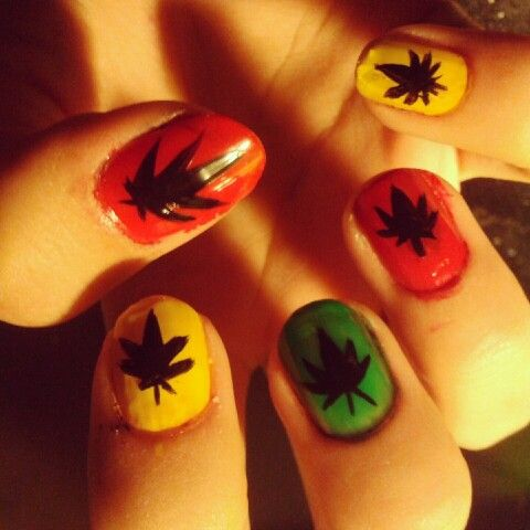 Pot Leaf Nails Nails Pinterest