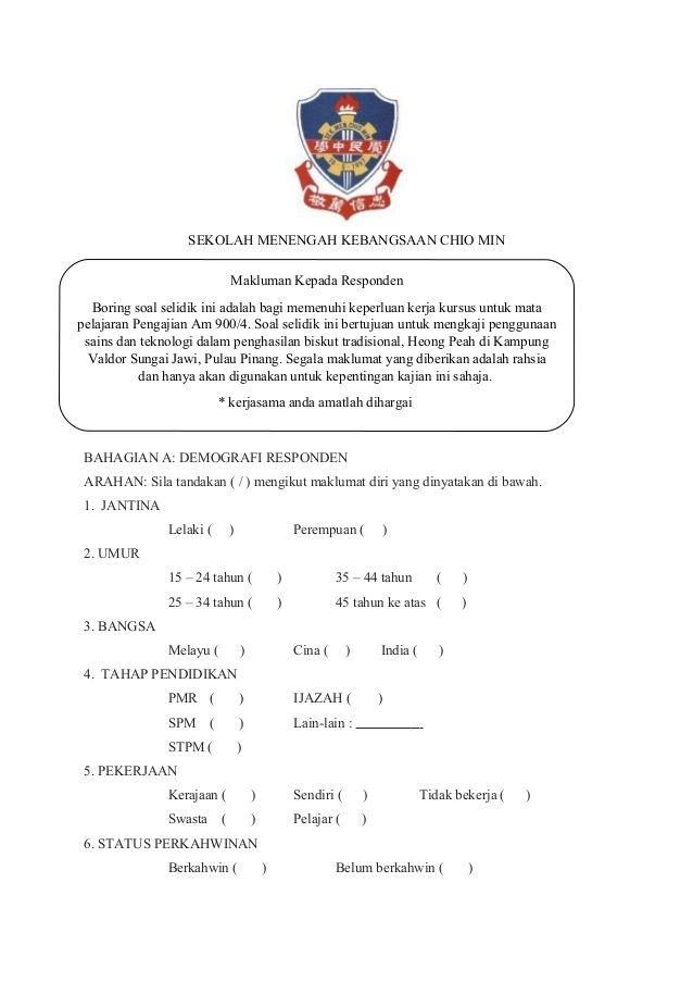 Sekolah Menengah Kebangsaan Chio Min Bahagian A Demografi Responden Arahan Sila Tandakan Mengikut Maklumat Diri Ya Education