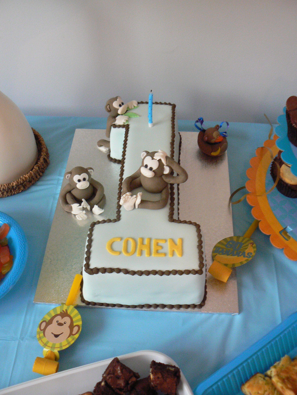Monkey 1st Birthday Cake