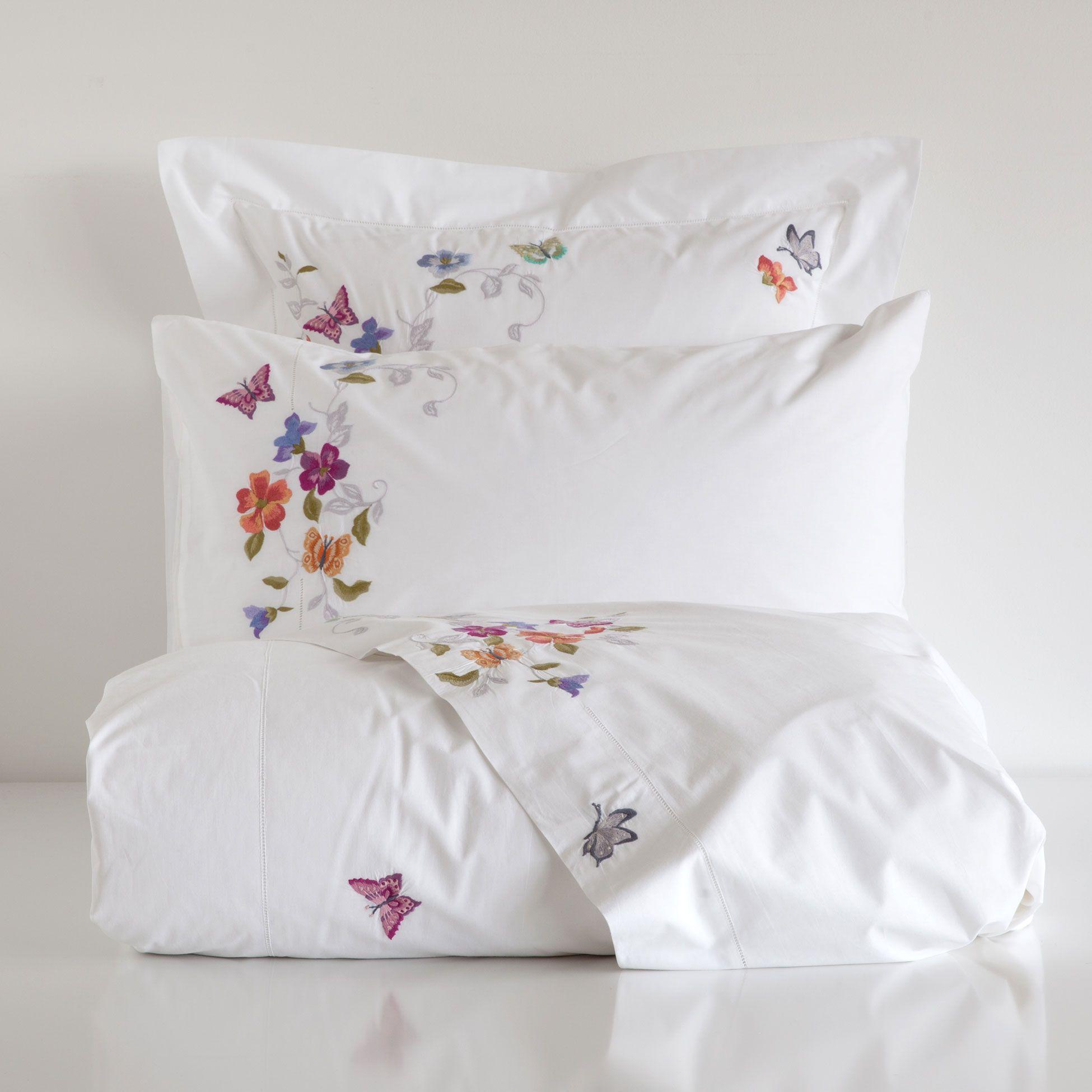 linge de lit percale broderie papillons linge de lit. Black Bedroom Furniture Sets. Home Design Ideas