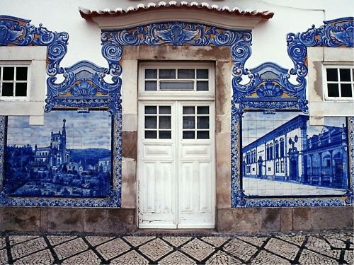 Train station in Aveiro, Portugal. Detail of facade with azulejos.