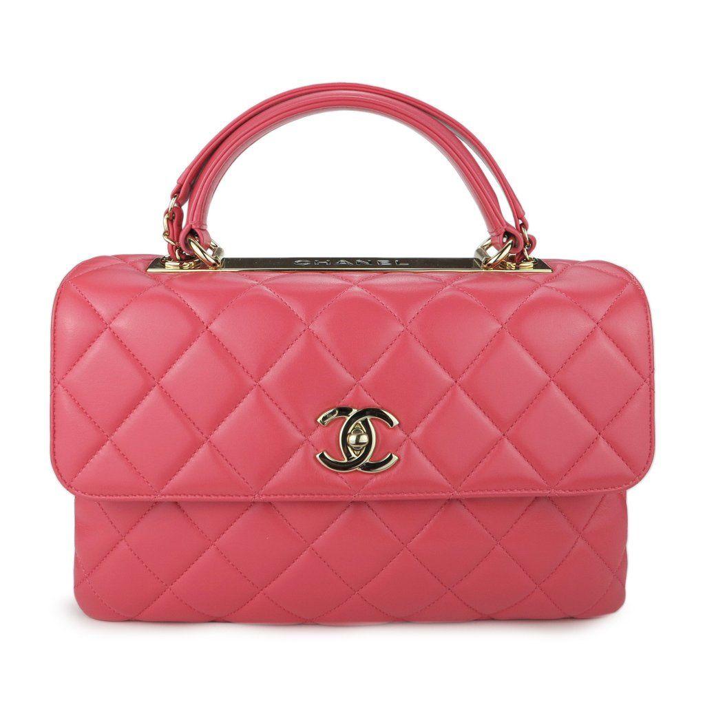 Medium Trendy Cc Flap Bag With Top Handle In Coral Pink Lambskin Chanel Handbags Chanel Bag Luxury Handbags