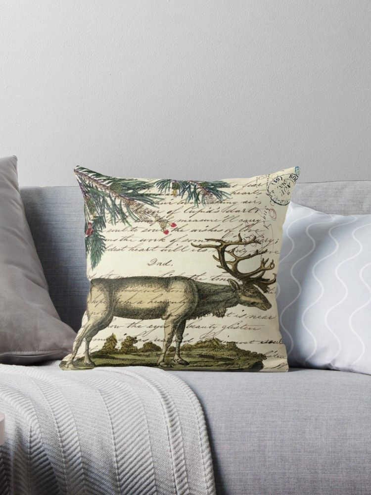 nordic scandinavian primitive christmas mountain animal bull elk' Throw Pillow by lfang77 is part of Scandinavian Home Accessories Pillows - nordic scandinavian primitive christmas mountain animal bull elk home decorations  western country primitive christmas mountain animal wildlife winter pine tree elk home accessories for rustic cabin decoration  Western country moose home decoration, Primitive christmas winter decoration  Rustic old west woodland nursery room decor  • Also buy this artwork on home decor, apparel, stickers, and more