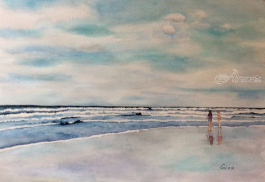 Title Ocean With View Artist Name Christina Giza Description A Peaceful Time In Ogunquit Maine Art Form Painti Watercolor Art Landscape Painting Artist