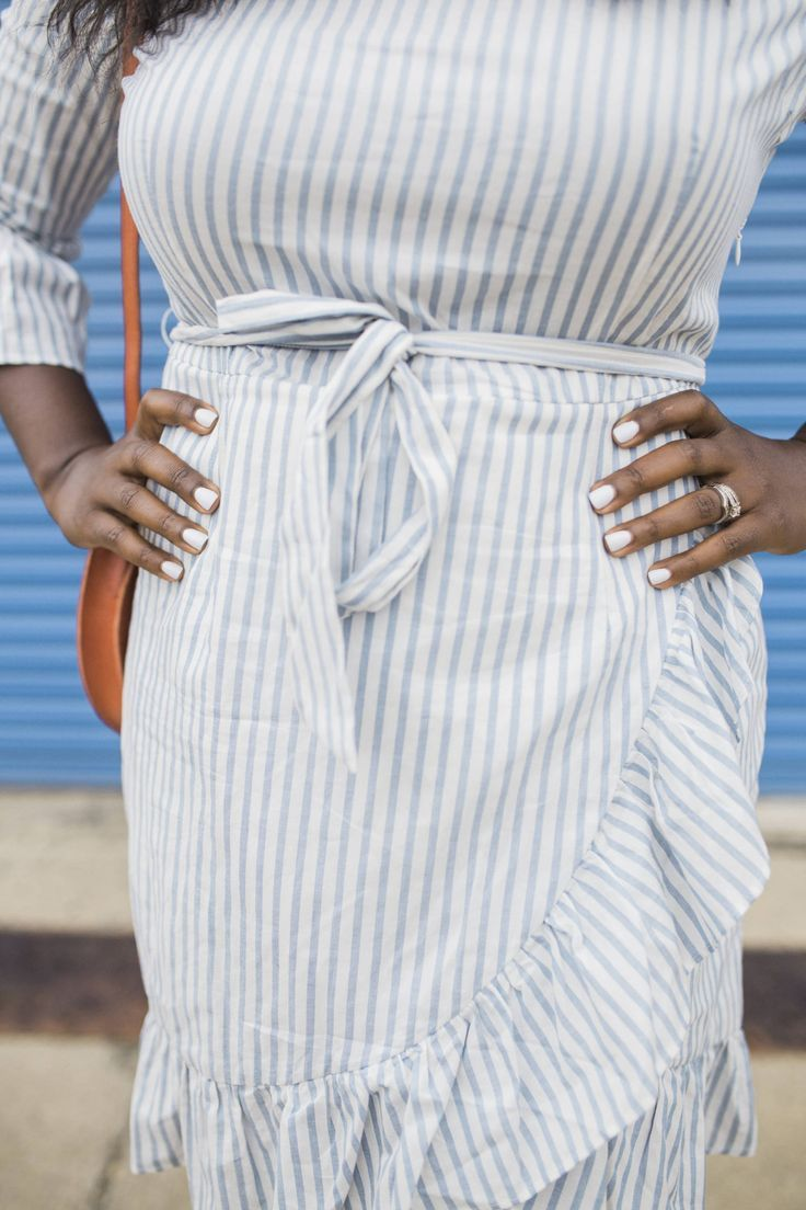 Blue and White Striped Ruffle Hem Faux Wrap Dress featured