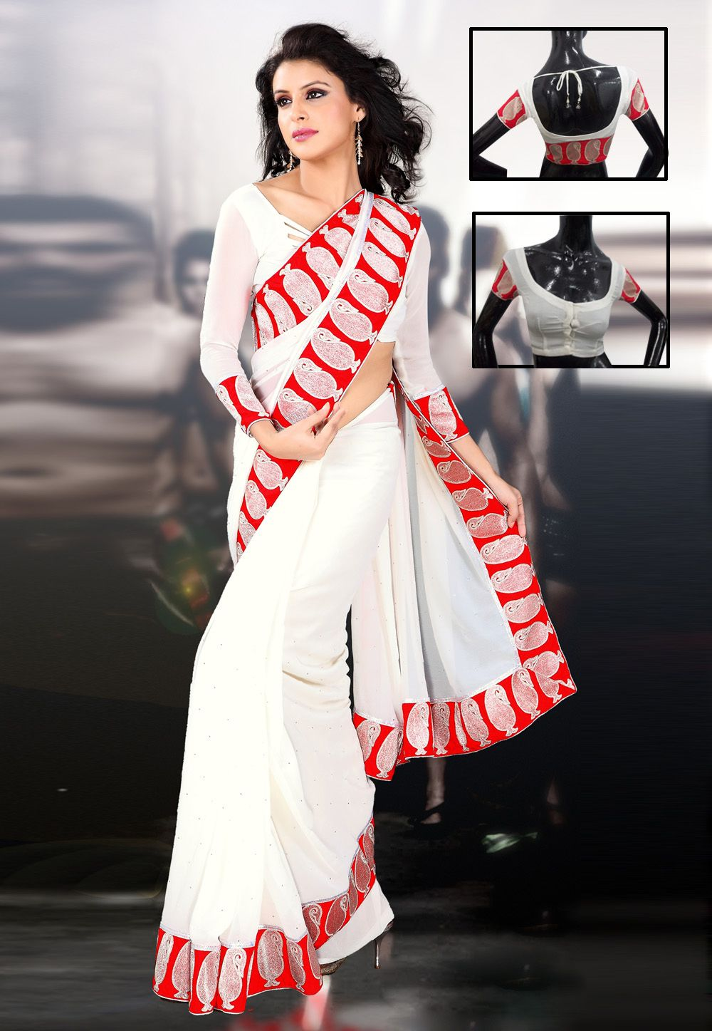 Off saree model images off white faux georgette saree with blouse    ready to
