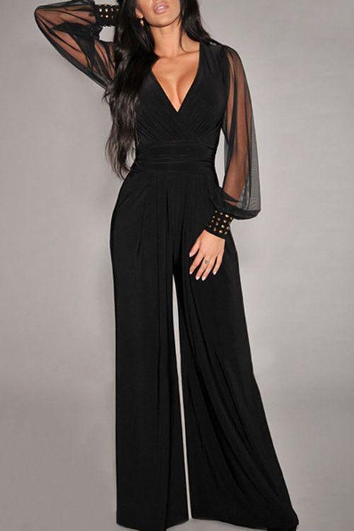 0db4b652801 Black Beading Long Sleeves V-neck Wide Leg Trousers Jumpsuit - US ...