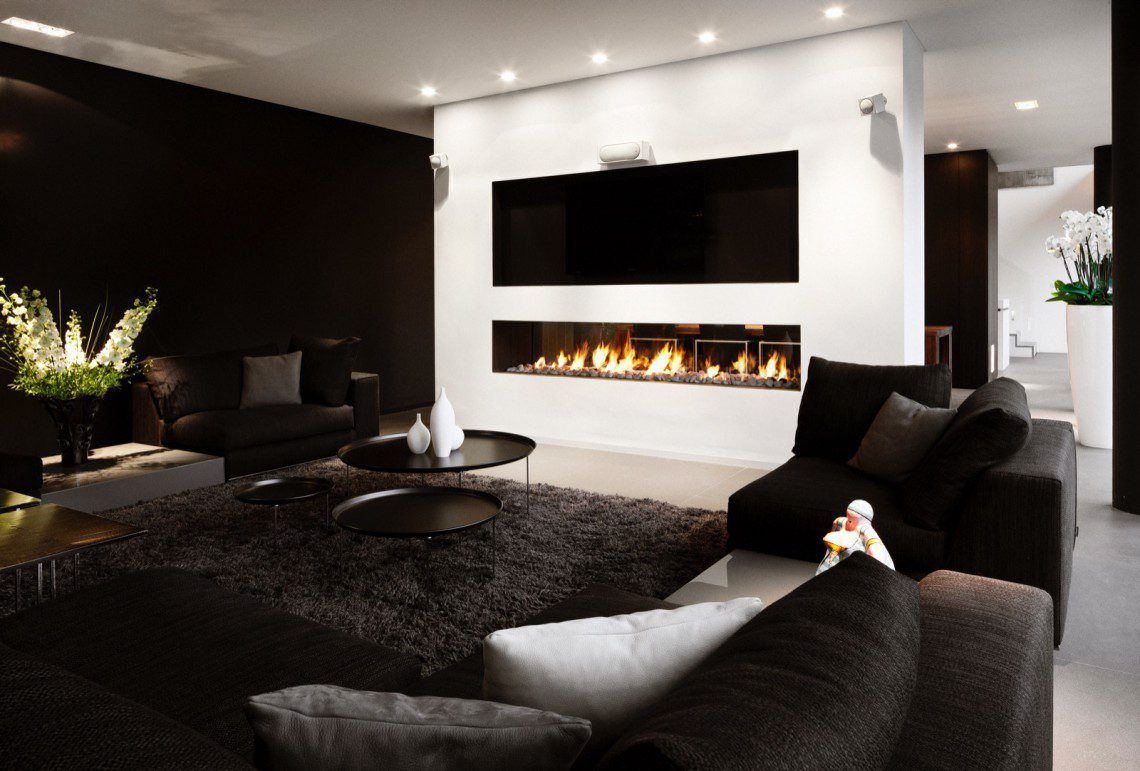 Moderne Villa Francois Hannes Salon Pinterest Chemin E  # Meuble Tv Integre Cheminee