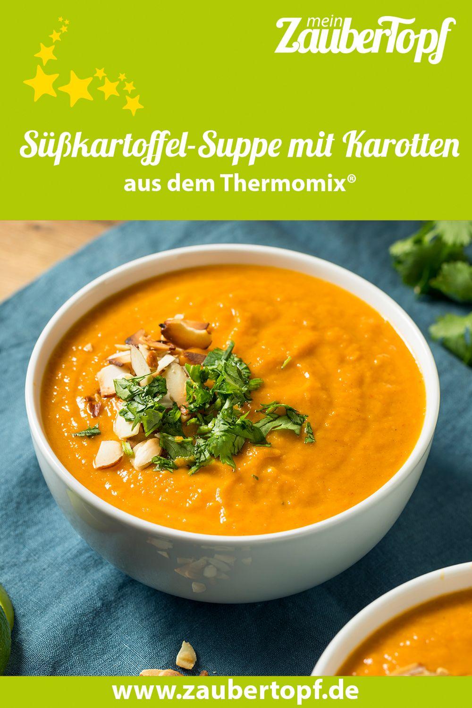 Süßkartffel-Suppe mit gerösteten Mandeln – Rezept für den Thermomix