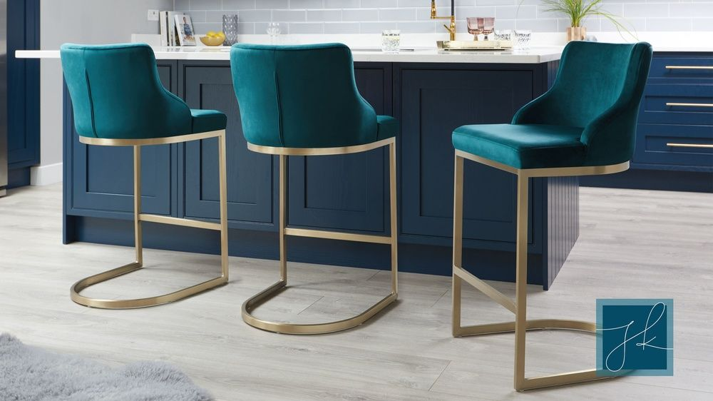 Form Teal Velvet And Brass Bar Stool With Backrest Modern Bar