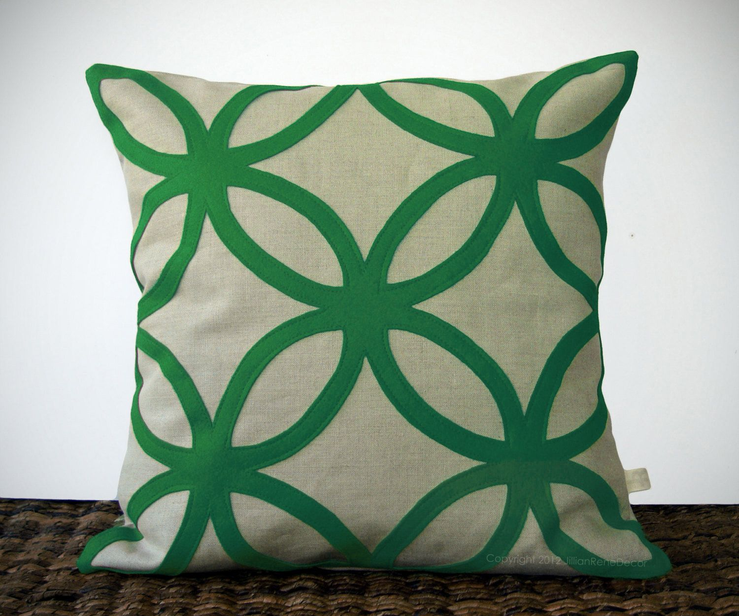 Geometric kelly green decorative pillow cover mod home decor by