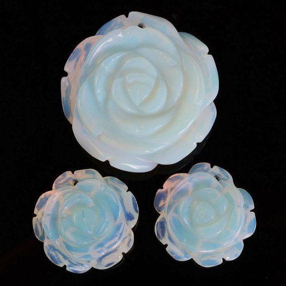 g0991 Carved opalite glass flower pendant earrings by uustonebead, $7.99