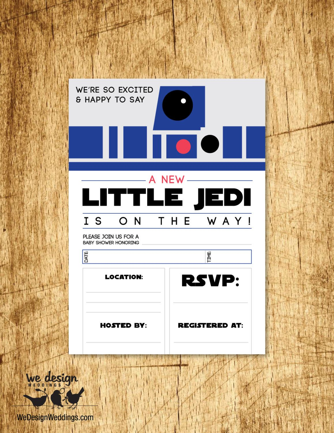 """Star Wars Inspired Baby Shower Invitation. """"A New Little Jedi is on the Way"""