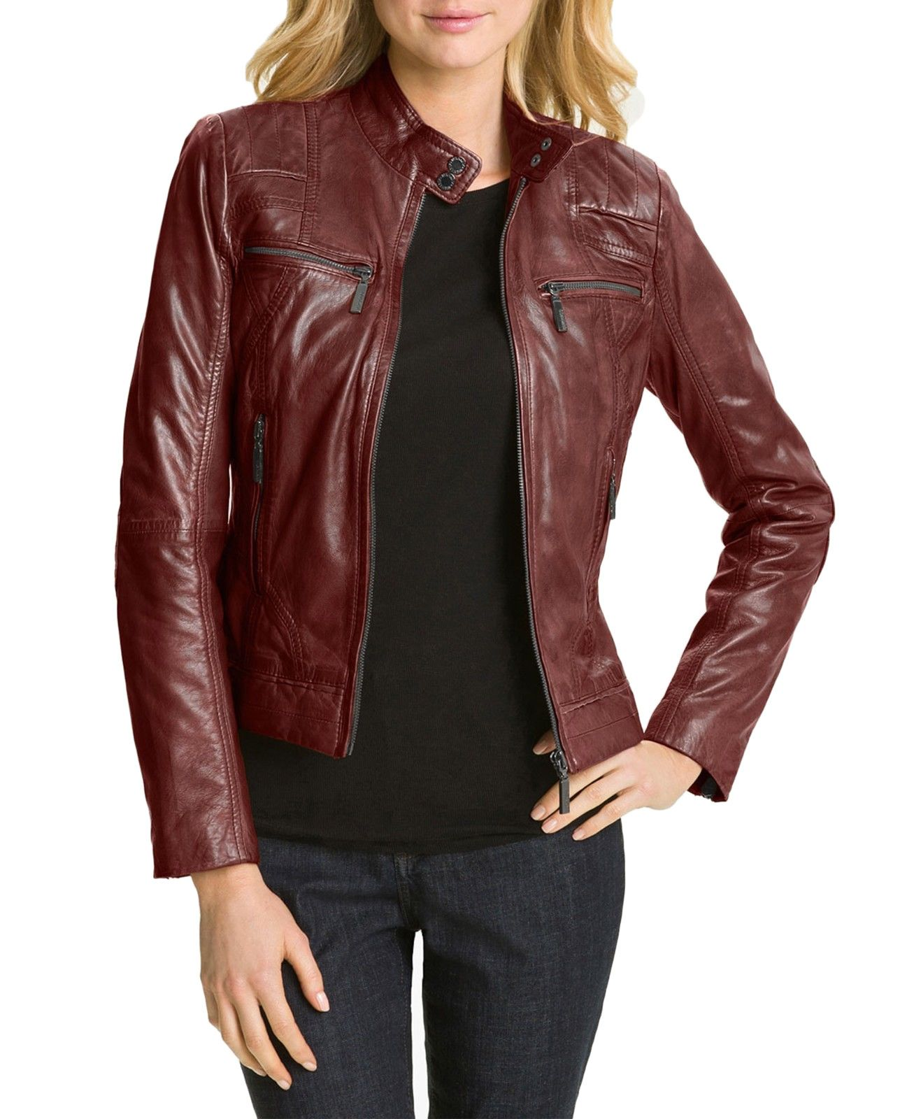New Hollywood Collection Soft Leather Biker Burgundy
