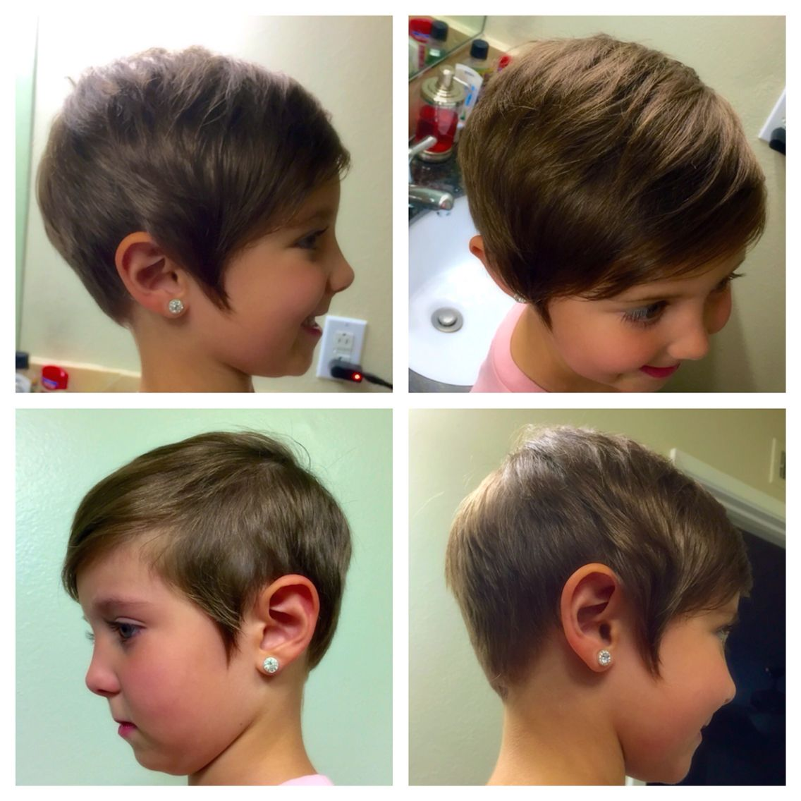 Kids Toddler Short Pixie Haircut Girls Asymmetrical Hair Cut