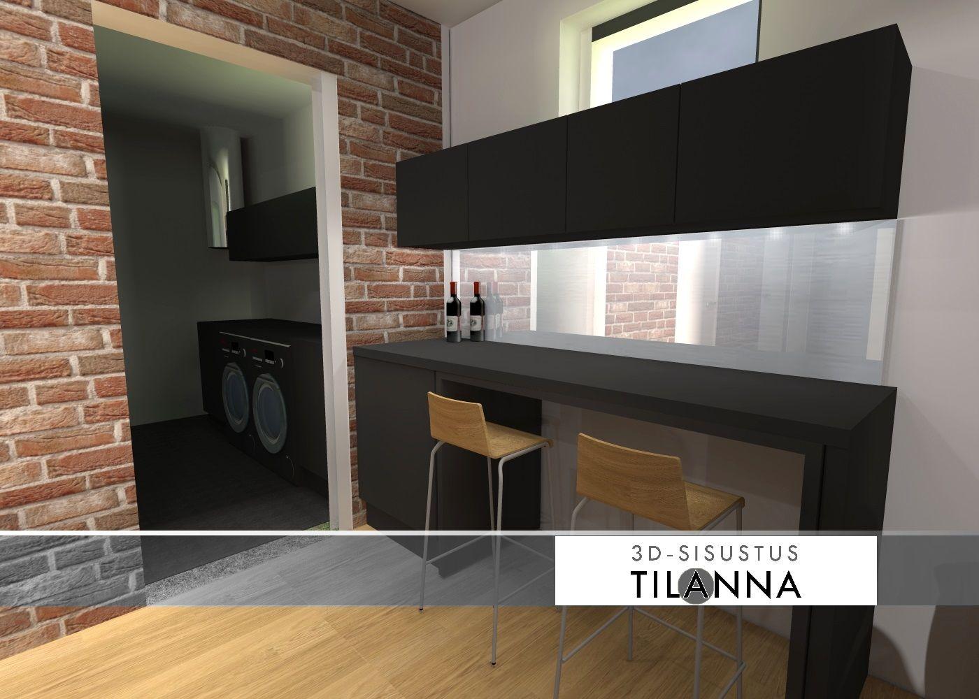 3D - sisustussuunnittelu / kellarin saunatuvan apukeittiö, tason alla irtotaso lisäpöydäksi, basement scullery, kitchen / 3D-sisustus Tilanna, sisustussuunnittelija Jyväskylä