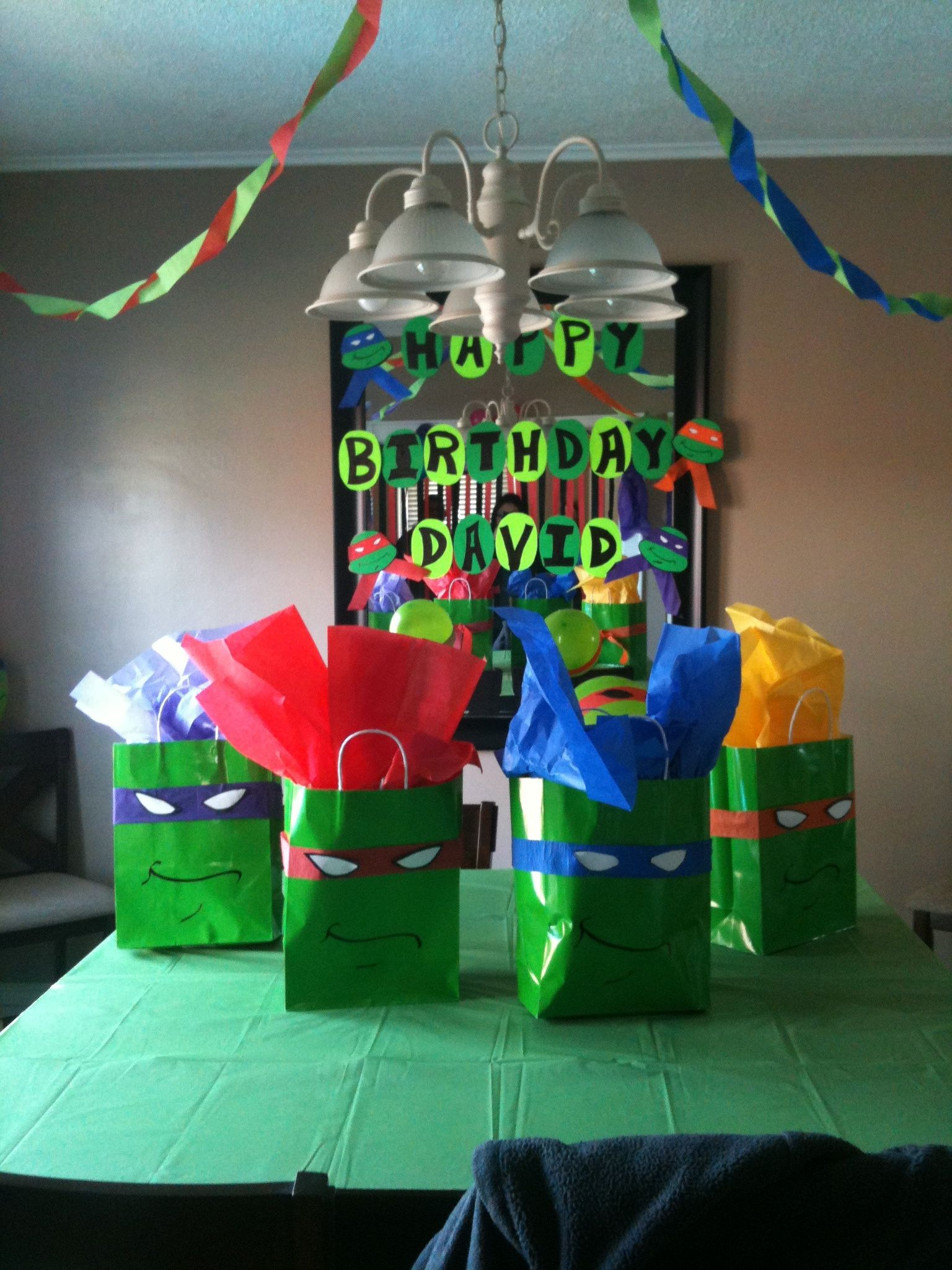 DIY ninja turtle gift bags ... Super cheap to make: green gift ...