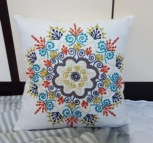 Floral Embroidery Throw Pillow Cover - Pattern B / 45X45CM SQ