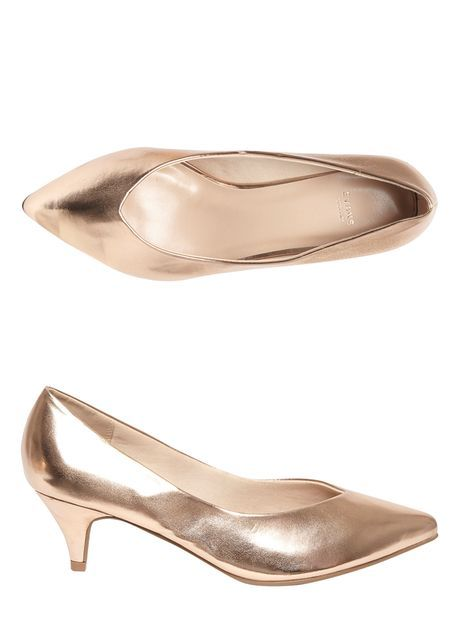 Rose Gold Kitten Heel Pointed Toe Court Shoes 28 Gold Kitten Heels Heels Kitten Heels