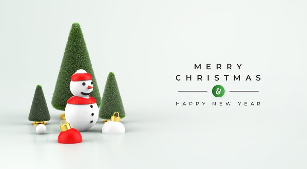 Merry Christmas And Happy New Year Mockup With 3d Christmas Decoration Merry Christmas And Happy New Year Merry Christmas Christmas Decorations