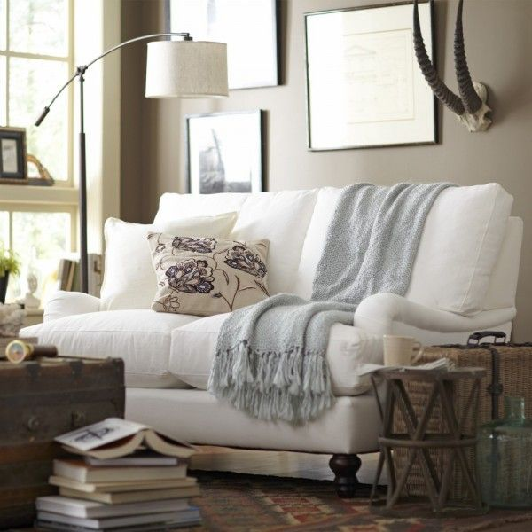 Like this style sofa, the accent table and the trunk. Might use similar table and trunk outside of the living room when it's in the budget ~Slipcovered Loveseat @ Birch Lane