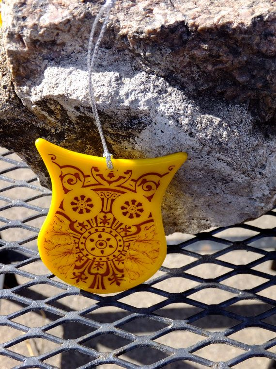 Mustard Yellow Owl Ornament by 7two7Glass on Etsy, $15.00