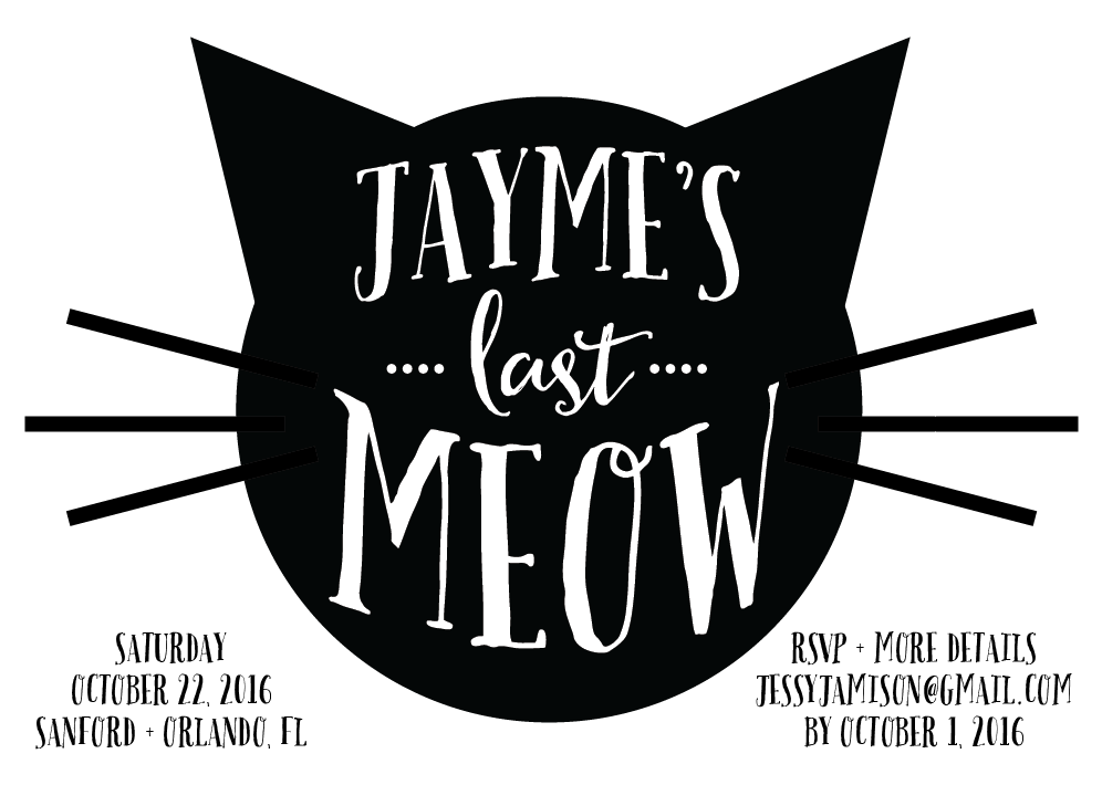 Bachelorette Party Cat Invite Finished Product Bachelorette