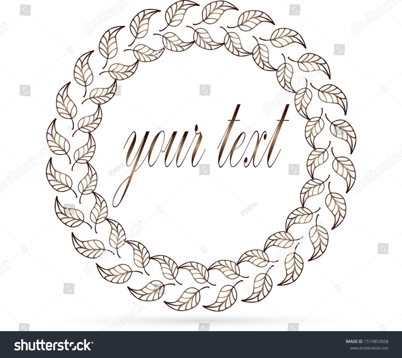 Photo of doodle wreaths icon, golden leaf frame for design, kids hand dwawing art line, v…