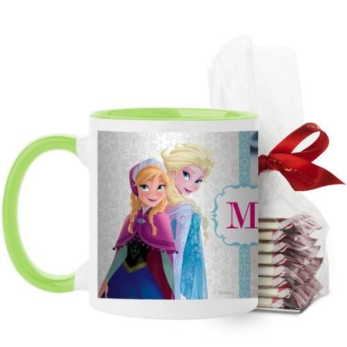 Disney Frozen Monogram Mug, Green, with Ghirardelli Peppermint Bark, 11 oz, White