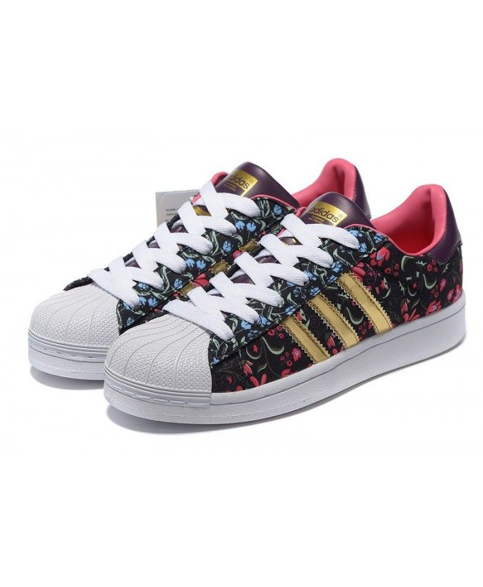 new product 3d216 fac2d Adidas Superstar Flowers Black Pink Gold Trainer