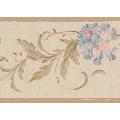 York Wallcoverings Grey Pink Blue Flowers on Vine Beige Damask Prepasted Wallpaper Border, Multi #blueflowerwallpaper