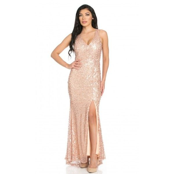 34eb39e8b5 Sequin Embellished Back Cutout Side Slit Mermaid Tail Maxi Dress in...  ( 100) ❤ liked on Polyvore featuring dresses