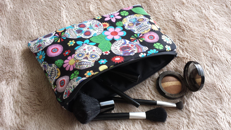 Handmade makeup bag, cosmetic bag, Black sugar skull