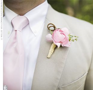 #Groom pink boutonniere... Wedding ideas for brides, grooms, parents & planners ... https://itunes.apple.com/us/app/the-gold-wedding-planner/id498112599?ls=1=8 … plus how to organise an entire wedding ♥ The Gold Wedding Planner iPhone App ♥