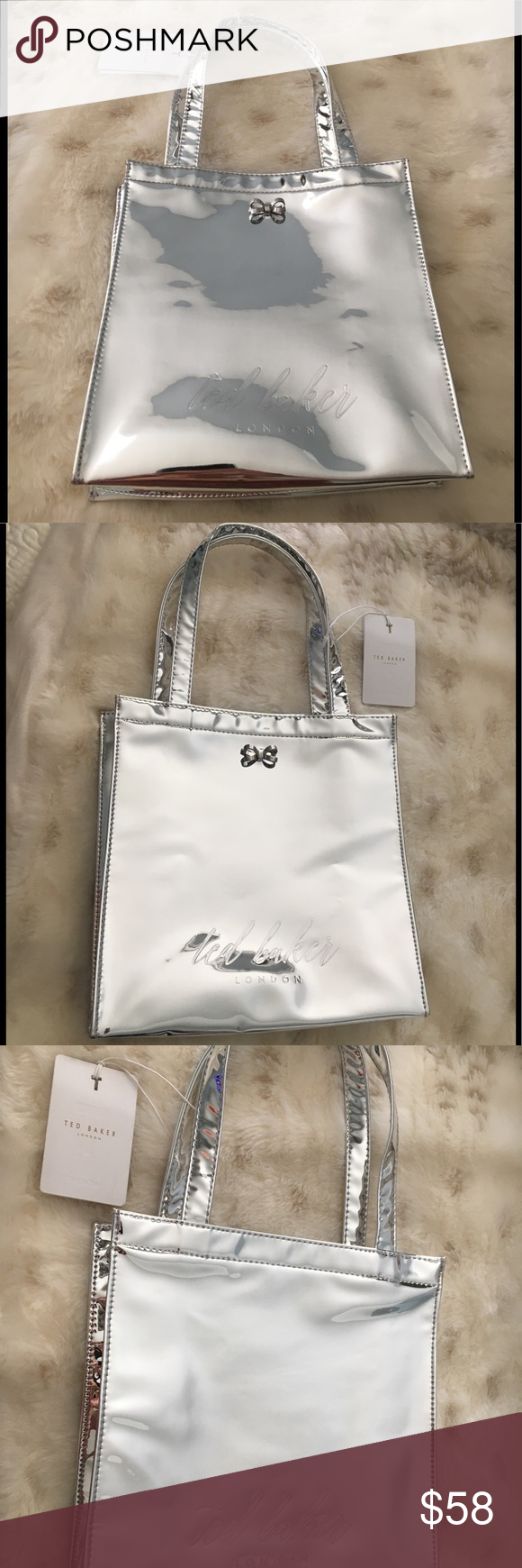 639f0050c NWT ✨✨Ted Baker Silver Metallic Doracon Tote Bag! NWT Ted Baker silver  metallic mirrored Doracon small tote bag with super cute silver metal bow  on front!